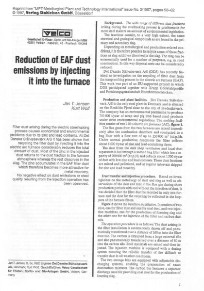 EAF Dust Reduction by injection