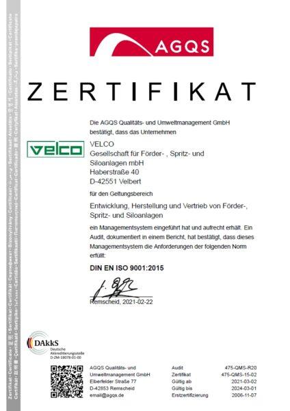 Velco DIN ISO 9001 Zertifikat